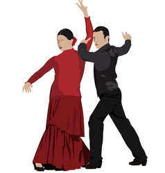 al 0303 flamenco dancers vector image