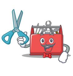 barber tool box character cartoon vector image