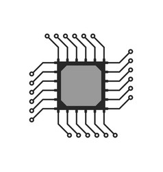 black abstract microchip circuit icon vector image vector image