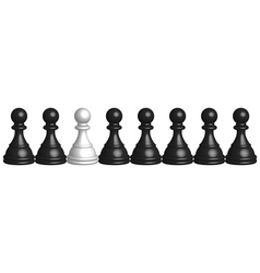 black and white pawns vector image vector image
