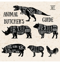Butchery shop animal set vector