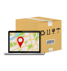 Carton parcel box and laptop with gps map vector
