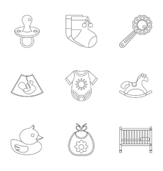 Child icons set outline style vector