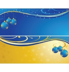 Christmas background blue and gold vector image vector image