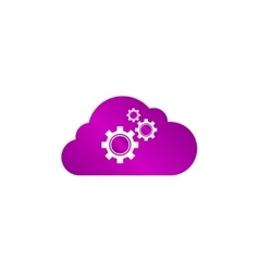 cloud with gears vector image vector image
