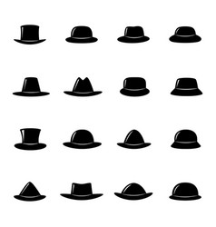 collection of black hats vector image vector image