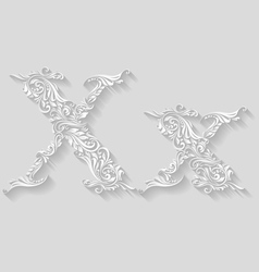 Decorated letter x vector image