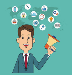 Digital marketing concept man business with vector