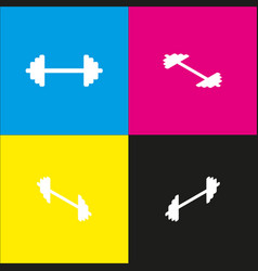 dumbbell weights sign white icon with vector image