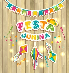Festa junina on wooden vector