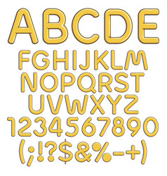 Gold alphabet numbers and signs vector