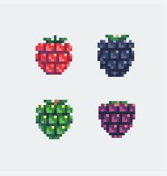 grapes pixel art icons set vector image vector image