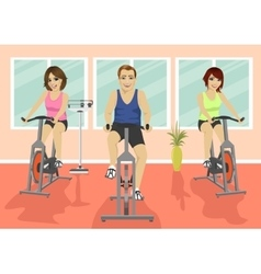 Group of people in gym doing cardio training vector