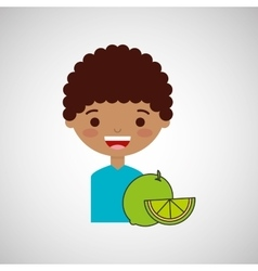 Happy boy with delicious lemon fruit design vector