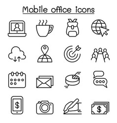 mobile office icon set in thin line style vector image vector image