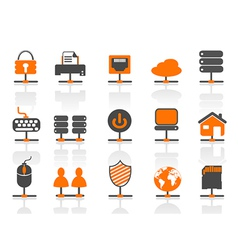 network connection icons set vector image