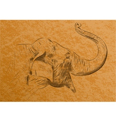 Of elephant on the background vector