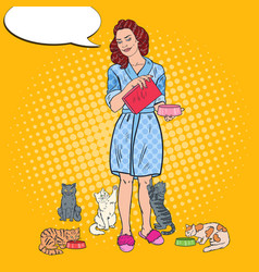 Pop art beautiful woman feeding her cats pet care vector