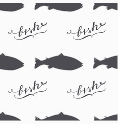 salmon fish silhouette hand drawn seamless pattern vector image vector image