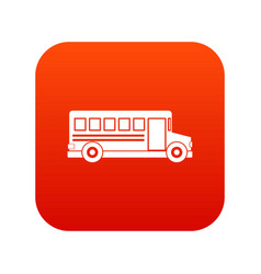 school bus icon digital red vector image vector image
