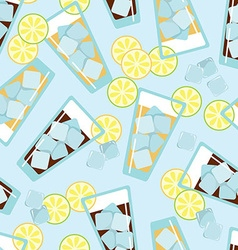 Seamless pattern with glasses of lemonade vector image vector image