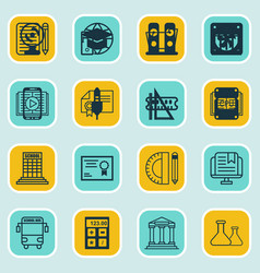 Set of 16 school icons includes measurement vector