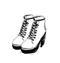 Shoes on the platform heels springs boots sketch vector