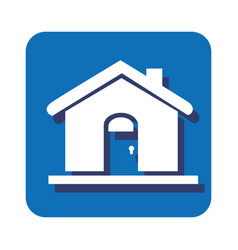 Square button silhouette house icon design vector