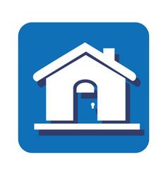 square button silhouette house icon design vector image