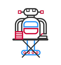 Technological robot housewife making ironing vector