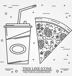 Thin line icon pizza hot dog and burger for web vector