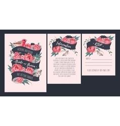 Wedding invitation with peonies vector image