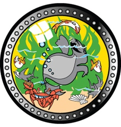 Window at the aquarium vector image vector image