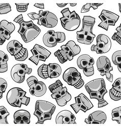 Skeleton skulls seamless pattern background vector image