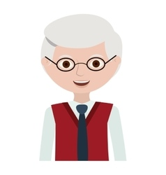 Half body elderly man with glasses vector
