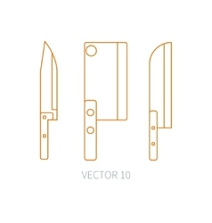 Line flat kitchenware icons knife chopper vector