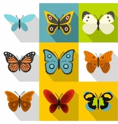 Creatures butterflies icons set flat style vector