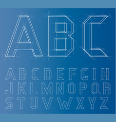 Wireframe alphabet font vector