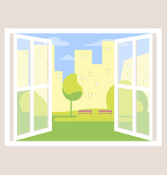 City view open window background vector