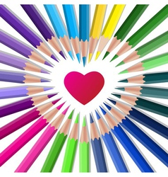 Color crayons with red heart vector