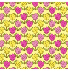 Cute tulips pattern vector
