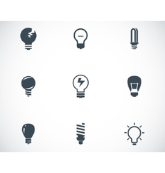 Black bulbs icons set vector