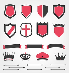 Set shields heraldic crowns ribbons arrows vector image