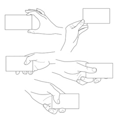 Hand holding blank business card set vector