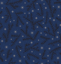 Seamless pattern fir brunch winter snowflake dark vector