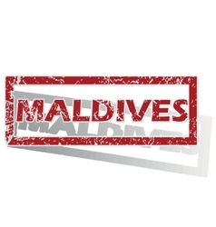 Maldives outlined stamp vector