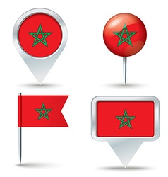 Map pins with flag of morocco vector