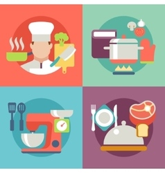 Cooking process delicious food best recipes icons vector