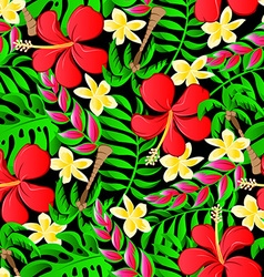 Tropical frangipani palms and hibiscus flowers vector