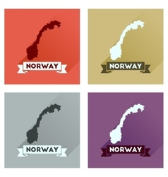 Concept flat icons with long shadow norway map vector